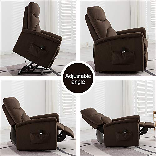 Bonzy Home Recliner New Electric Powered Lift Recliner Chair with Remote Control - Home Theater Seating - Bedroom & Living Room Chair Recliner Sofa for Elderly (Brown D097)