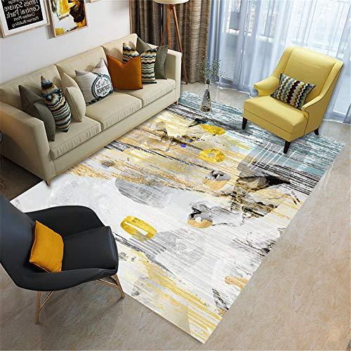 Alfombras alfombras Infantil Deslizar el diseño de Tinta Negra Gris Amarillo Sucio con Alfombra descolorida alfombras Salon Pelo Corto Alfombra Salon Lavable 180X250CM