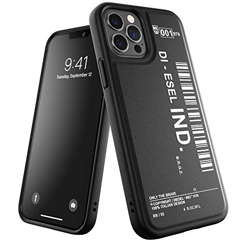 Diesel Designed for iPhone 12 / iPhone 12 Pro 6.1 Hülle, Moulded Core, Shockproof, Drop Tested Protective Cover with Raised Edges, Black/White