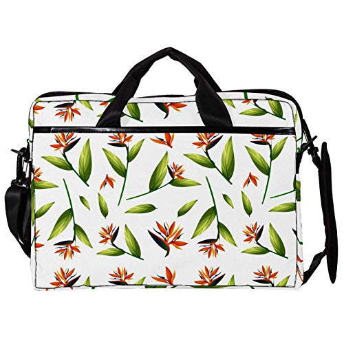 Mochila unisex para ordenador o tableta, ligera para portátil, bolsa de viaje de lona, 13.4-14.5 pulgadas, con hebillas, hojas de palma verde