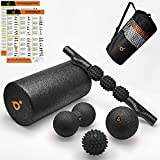 Foam Roller for Physical Therapy & Exercise - Back Roller Set With Spiky Massage Balls, Double Massage Roller Ball, Muscle Roller Stick & Peanut Ball - Trigger Point Deep Tissue Pain Relief & Recovery