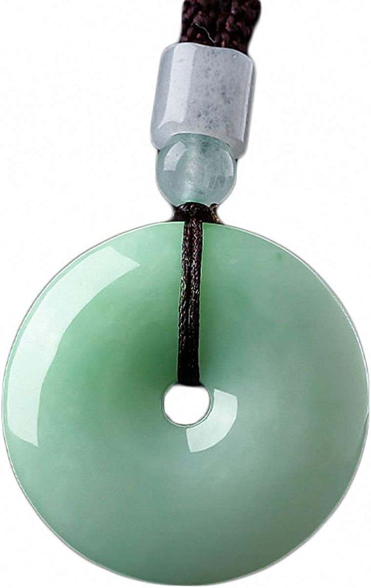 Natural Green Jade A Jadeite Carved Safety Button Pendant Amulet with Necklace Free