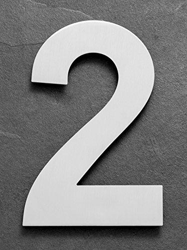 XAPTOVi - Hausnummer 2 aus Edelstahl - 25 cm - 'XXL' Rostfrei Hausnummernschild / Hausnummern - Dutch Quality