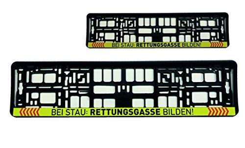 """2x Kennzeichenhalter Nummerschildhalter\""""Bei Stau Rettungsgasse bilden\"""" Feuerwehr Warenfux24"""