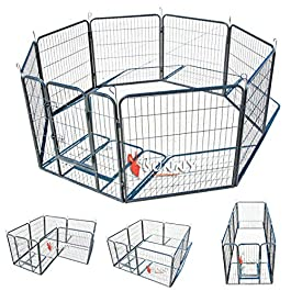 BUNNY BUSINESS Heavy Duty Modular Puppy Exercise Play/Whelping Pen, 160 x 160 x 80 cm, 8-Piece