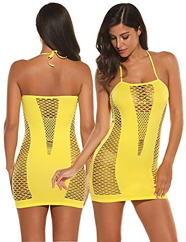 Avidlove Lingerie Dessous Frauen Mesh Sexy Hollow Out Negligee Babydoll Wäsche Netzs Flexibel Free Size Mini Silm Kleid, Gelb, Einheitsgröße