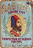 TLNPU Vintage Dekorative Metallschilder Bagdad Short Cut Pipe Tabak Metallschild Wanddekoration Blechschild 20,3 x 30,5 cm