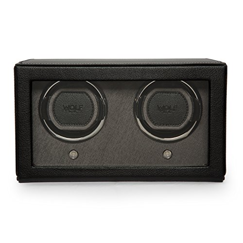 WOLF Unisex 461203 Wolf Cub Double Black Analog Display Watch Winder with Cover, 6x5x5.75