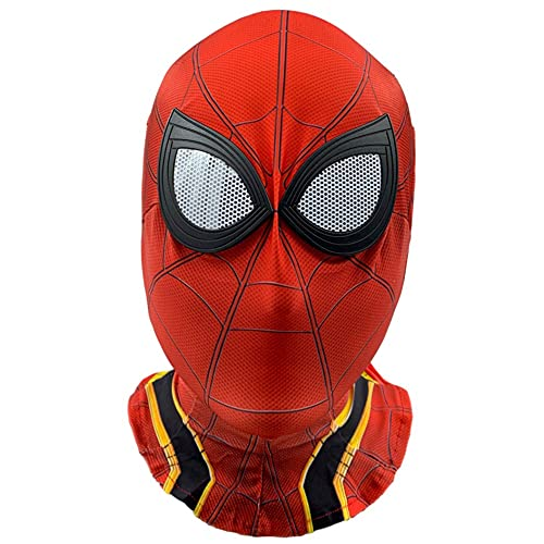 MIANslippers Spiderman Masara Transpirable Carnival Cara De Cara Completa Disfraz De Cabeza Impreso 3D Cubierta De Cabeza Superhroe Halloween Juego Visible Casco,Red ironspiderman-Average Size