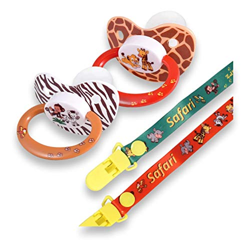 Rearz  Safari  Adult Pacifier with Lanyard and Clip 2 Pack
