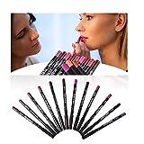 Lip Liner Pencil Set, 12 colores surtidos Maquillaje natural para labios Lápices suaves Impermeable y de larga duración Velvet Lip Liners Regalo para niñas Amigos Hija Esposa