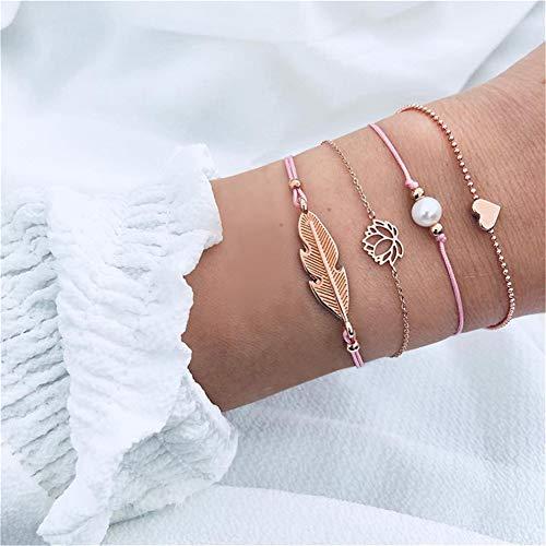 Ellepigy - Juego de 4 Pulseras Trenzadas de Perlas Artificiales para Mujer