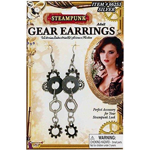 Forum Novelties Steampunk Gear Silver Earrings Adult Costume Jewel