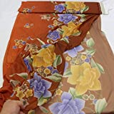 kawenSTOFFE Chiffonstoff Braun Orange Blau Blumenprint