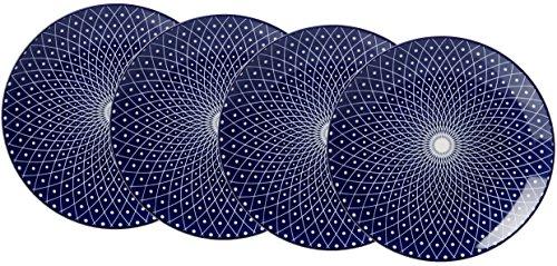 Ritzenhoff & Breker Kuchen- und Frühstücksteller-Set Royal Reiko, 4-teilig, 21,5 cm Durchmesser, Porzellangeschirr, Blau-Weiß
