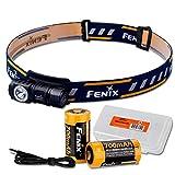 Fenix HM50R 500 Lumens Multi-Purpose Compact LED Headlamp Flashlight & Two Rechargeable Battery & LumenTac Battery Organizer