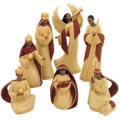 Red Cream Nativity (Set 7pcs), 4 ~ 8 inches H