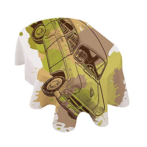 Angel Bags Doodle - Mantel ovalado para coche, diseño vintage, diseño de salpicaduras, retro, de poliéster, 52 x 170 pulgadas, para fiestas, bodas, primavera, verano, color marrón y verde claro