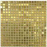 Piastrelle a mosaico in acciaio inox dorato, oro e acciaio spazzolato, MOS129-0707