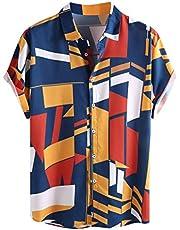 IHGTZS Men's Shirts, Contrast Color Geometric Printed Turn Down Collar Short Sleeve Loose Shirts