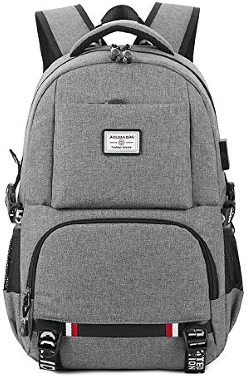 USB Computer Backpack Casual Bag Oxford Cloth Couple Backpack Travel Backpack (color   Grey, Size   18 inch)