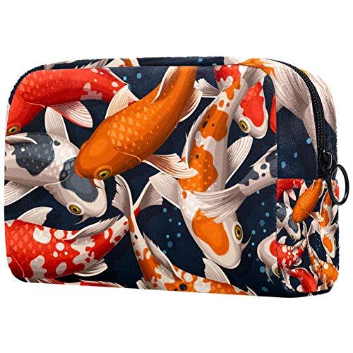 Trousse de toilette portable pour femme, trousse de maquillage personnalisée, organiseur de voyage sans couture Koi carpes