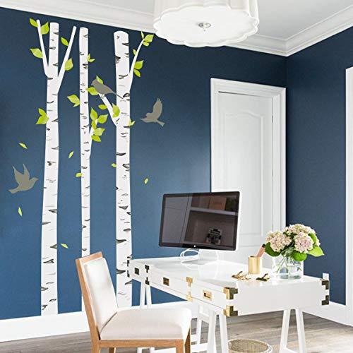 decalmile Wandtattoo Birke Wandsticker Bäume Wald Vogel Wandaufkleber Kinderzimmer Babyzimmer Schlafzimmer Wohnzimmer Wanddeko