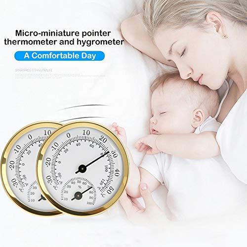 zhuangyulin6 Indoor-Outdoor-Hygrometer-Thermometer, Temperatur-Feuchte-Messgerät, Indoor-Analog-Thermometer, Hygrometer-Feuchte-Temperatur-Messgerät, Gold