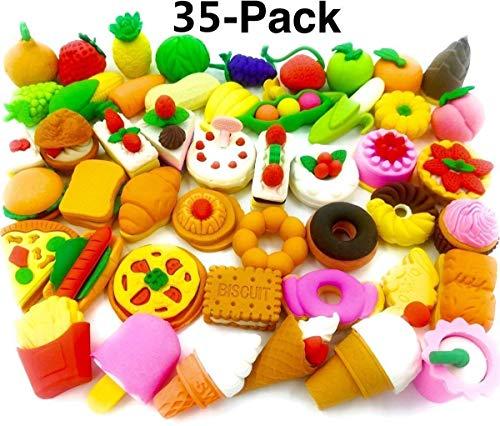 Gshy - Lote de 35 gomas de borrar con lápiz surtidos para pasteles y