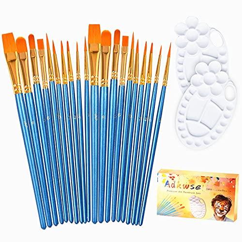 Adkwse Paint Brush Set,22 Pcs Artist Paintbrushes for Acrylic Oil Watercolor Gouache Canvas Body Face Nail Easter ,Halloween Pumpkin Rock Painting Kit.