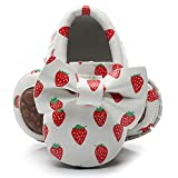 HONGTEYA Baby Moccasins with Rubber Sole&Soft Sole - Flower Print PU Leather Tassel Bow Girls Ballet Dress Shoes for Toddler (6-12Months, 12.5cm,5.5 M US Toddler, Strawberry)