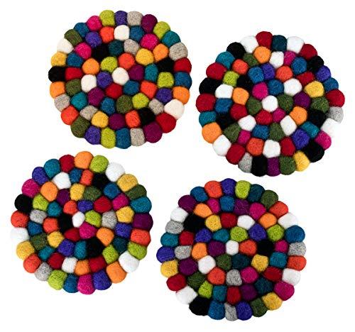 Maharanis Fairtrade Handgefertige Filzuntersetzer für Gläser kunterbunt 4er Set