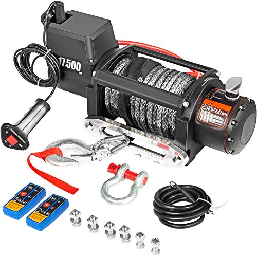 VEVOR Electric Winch 17500lb Load Capacity Truck Winch Synthetic Rope 12V Power Winch with Wireless Remote Control, Powerful Motor for ATV UTV Off Road Trailer