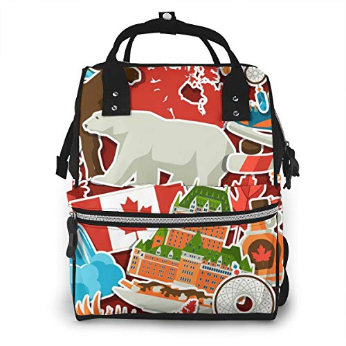 Canada Flag Bear Diaper Bag Backpack Large Capacity Waterproof Travel Bag Mummy Bag