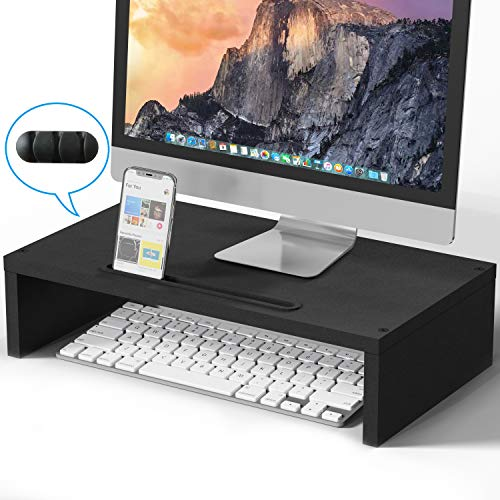 BAMEOS Monitor Stand Computer Riser Desk Organizer Stand Desktop Printer Stand for Laptop Computer Storage Shelf & Screen Holder 16.5 inches with Cable Management Phone Holder