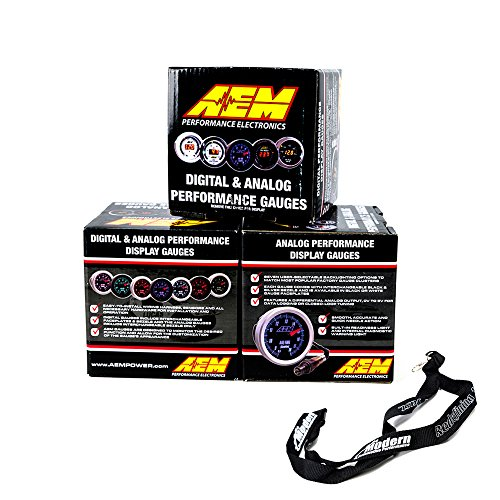 AEM 52mm Gauge Combo Air/Fuel Ratio Wideband UEGO & Oil Pressure 150psi & Boost 30-35 w/MAP Lanyard Black