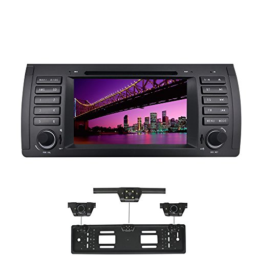 XISEDO Android 7.1 Car Stereo 7' In Dash Autoradio 1 Din Head Unit RAM 2G Sat Nav GPS Navigation with DVD Player for BMW 5-E39/BMW X5-E53(with UK/EU License Plate Frame)