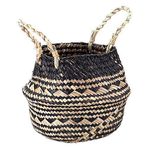 Seagrass Storage Basket Flower Pot Natural Rattan Basket Plant Pot Toys Holder Foldable Laundry Basket Container Home Decoration