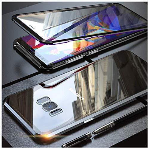 Custodia per Samsung Galaxy S8 Adsorbimento Magnetico Tech Protezione 360 Gradi Flip Cover Doppio Tattile Vetro Temperato Telaio Alluminio Forte Magnete Antiurto Metallo Cassa