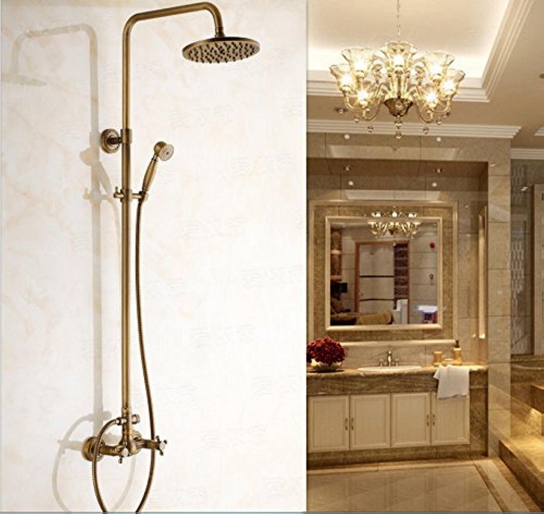 Zxy Home Bathroom ZXY Antique flower suit retro shower bath European full copper shower hot tap