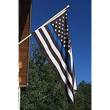 Thin Blue Line Flag 3x5 ft - 210D Nylon, Embroidered Stars and Sewn Stripes with 2 Brass Grommets For Outdoor Events and Indoor Display