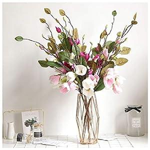 Mikilon Artificial Magnolia Flowers Artificial Plant Real-Touch Magnolia Bouquet Home Wedding Decoration,Home Decor Party Garden Office (Hot Pink)