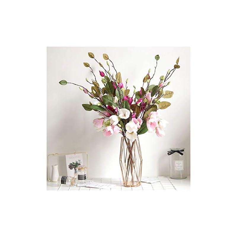 silk flower arrangements mikilon artificial magnolia flowers artificial plant real-touch magnolia bouquet home wedding decoration,home decor party garden office (hot pink)