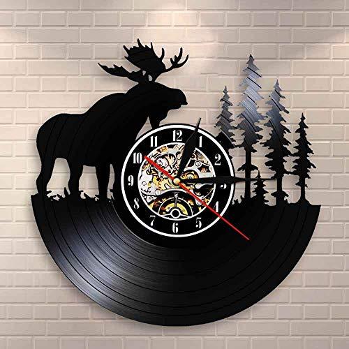 Idealeben lampada da comodino a led per bambini dimming t woodland deer decorazione da parete vintage disco in vinile orologio da parete palchi alci foresta re con albero di pino caccia orolog