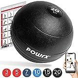 POWRX - Slam Ball Balón Medicinal 3-20 kg - Ideal para Ejercicios de Entrenamiento Funcional - (20 kg/Negro)