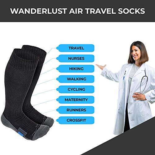 Wanderlust Air Travel Chaussettes de compression–Premium dégradé contention pour homme et...