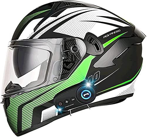 STRTG Casco De Motocicleta Bluetooth De Cara Completa Dot/ECE Cascos De Protección De Motocicleta con Doble Visera, Cascos De Scooter con Sistema Bluetooth Integrado G,XL