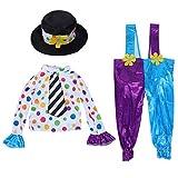 SOIMISS Payaso Disfraz Carnaval Payaso Traje con Camisas Pantalones Sombrero Halloween Vestir Accesorios Regalos para Niños Disfraz Cosplay Fiesta Suministros Favores M