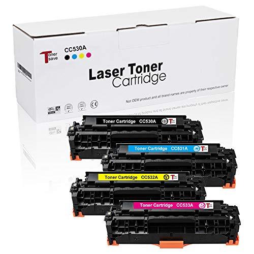 Tonersave kompatible zu HP 304A CC530A für HP Color Laserjet CP2025 CP2025N CP2025DN CM2320 CM2320N MFP CM2320NF MFP CM2320FXI MFP Drucker 4er-Pack Schwarz/Cyan/Magenta/Gelb
