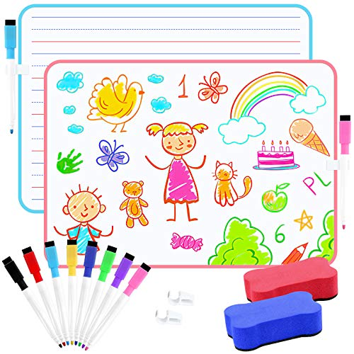 PAIVSUN Small Dry Erase White Board for Kids Portable Dry Erase Lap Board with Line Double Sided, Personal Whiteboard for Students Learning Writing Home Studying, 2 Pack